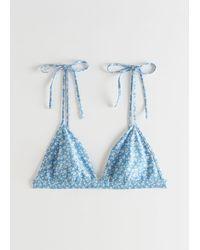 & Other Stories Soft Triangle Bikini Top - Blue