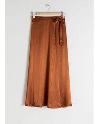 & Other Stories Satin Wrap Maxi Skirt - Orange