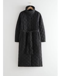 & Other Stories Belted Quilted Coat - Black
