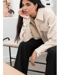 & Other Stories Oversize-Workwear-Hemd Aus Woll-Mix - Natur