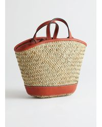 & Other Stories Woven Straw Leather Trim Tote Bag - Natural