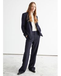 & Other Stories Fitted Flare Pinstripe Trousers - Blue