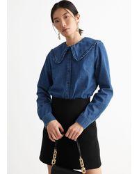 & Other Stories Ruffled Collar Cotton Denim Shirt - Blue