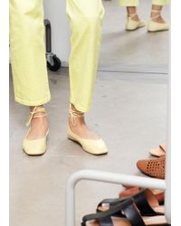 & Other Stories Square Toe Leather Lace Up Flats - Yellow