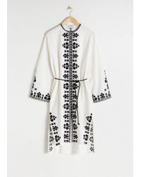 & Other Stories Embroidered Cotton Kaftan - White
