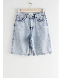 & Other Stories High Waist Denim Shorts - Blue