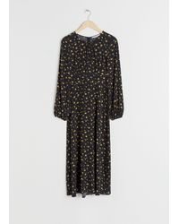 & Other Stories Floral Long Sleeve Midi Dress - Black