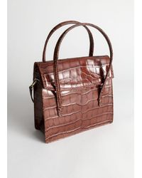 & Other Stories Leather Croc Square Crossbody Bag - Brown
