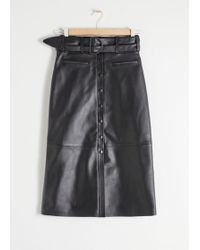 & Other Stories - Belted Leather Midi Skirt - Lyst