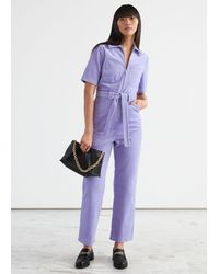 & Other Stories Belted Cropped Corduroy Jumpsuit - Purple