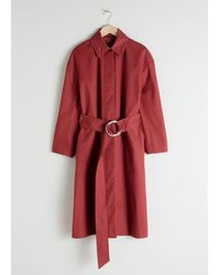 & Other Stories Belted Cotton Twill Trenchcoat - Orange