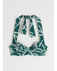 & Other Stories Floral Halter Underwire Bikini Top - Green