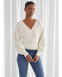 & Other Stories Oversized Belted V-cut Sweater - White