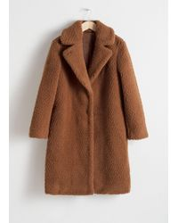 & Other Stories Faux Shearling Teddy Coat - Orange