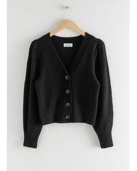 & Other Stories Puff Sleeve Cropped Cardigan - Black