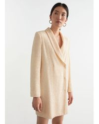 & Other Stories Sequin Double Breasted Blazer Dress - White