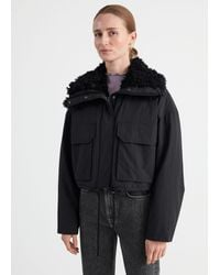 & Other Stories Boxy Cropped Faux Shearling Jacket - Black
