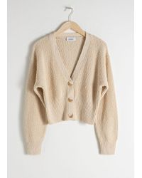 & Other Stories Cropped Textured Cotton Cardigan - Natural