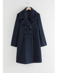 & Other Stories Double Breasted Wool Blend Bouclé Coat - Blue
