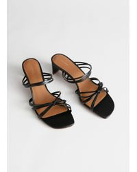 27fd6ab9251 Strappy Knotted Heeled Sandals - Black