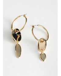 & Other Stories Duo Pendant Hoop Earrings - Metallic