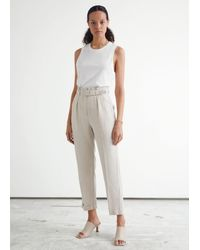 & Other Stories Belted High Waist Linen Pants - Natural