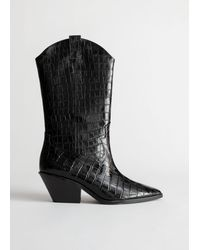 & Other Stories Croc Embossed Leather Cowboy Boots - Black