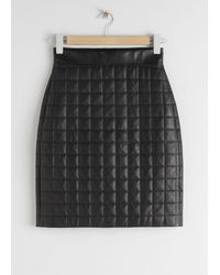 & Other Stories Quilted Leather Skirt - Black