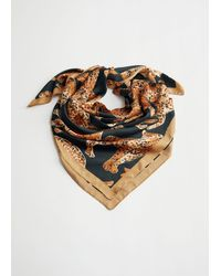 & Other Stories Glossy Leopard Motif Scarf - Natural