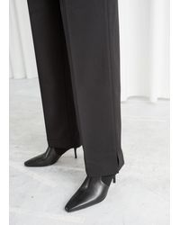 & Other Stories Tailored Wool Blend Trousers - Black