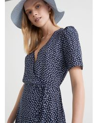 & Other Stories Printed Scallop Wrap Mini Dress - Blue