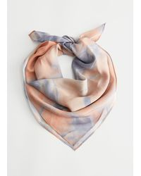& Other Stories Duo Tone Printed Silk Scarf - Multicolour