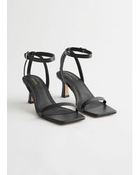 & Other Stories Squared Toe Heeled Leather Sandals - Black