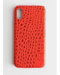 & Other Stories Croc Embossed Iphone Case - Red