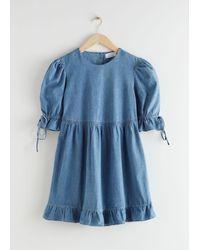 & Other Stories Voluminöses Mini-Jeanskleid - Blau