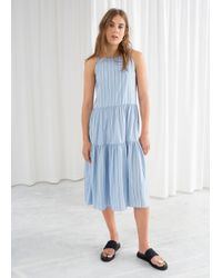 & Other Stories - Gathered Pleated Midi Dress - Lyst