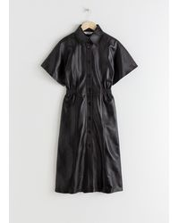 & Other Stories Structured Leather Midi Dress - Black