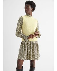 & Other Stories Fuzzy Scallop Knit Vest - Yellow