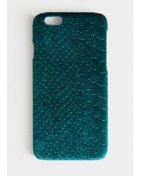 & Other Stories Velvet Snake Embossed Iphone Case - Green