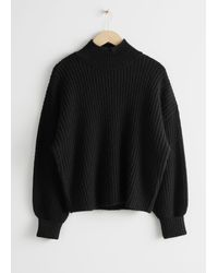 & Other Stories Oversized Mock Neck Wool Blend Jumper - Black