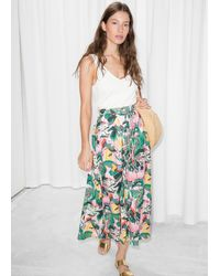 & Other Stories Tropical Print Midi Skirt - Pink