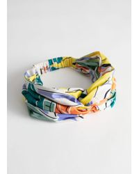& Other Stories Tropical Print Knot Hairband - White