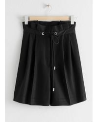 & Other Stories High Waisted Pleated Shorts - Black