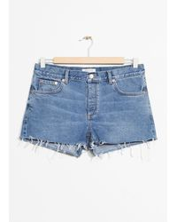 & Other Stories Raw Hem Jeans Shorts - Blue