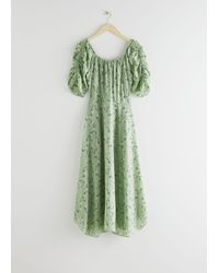 & Other Stories Rouched Sleeve Midi Dress - Green