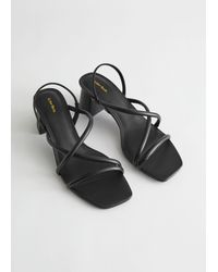 & Other Stories Chunky Strap Heeled Leather Sandals - Black