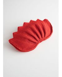 & Other Stories Crochet Lotus Clutch - Red