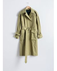 & Other Stories Oversized Belted Trenchcoat - Green