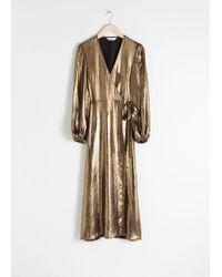 & Other Stories Metallic Satin Midi Dress