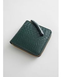 & Other Stories Embossed Leather Zip Wallet - Green
